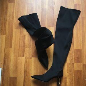 New Zara black nylon thigh high boots 8